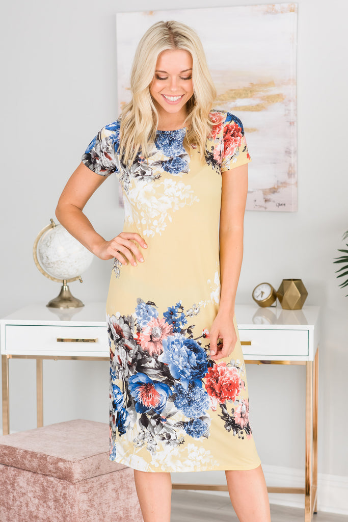Meet You For Luncheon Banana Yellow Floral Midi Dress