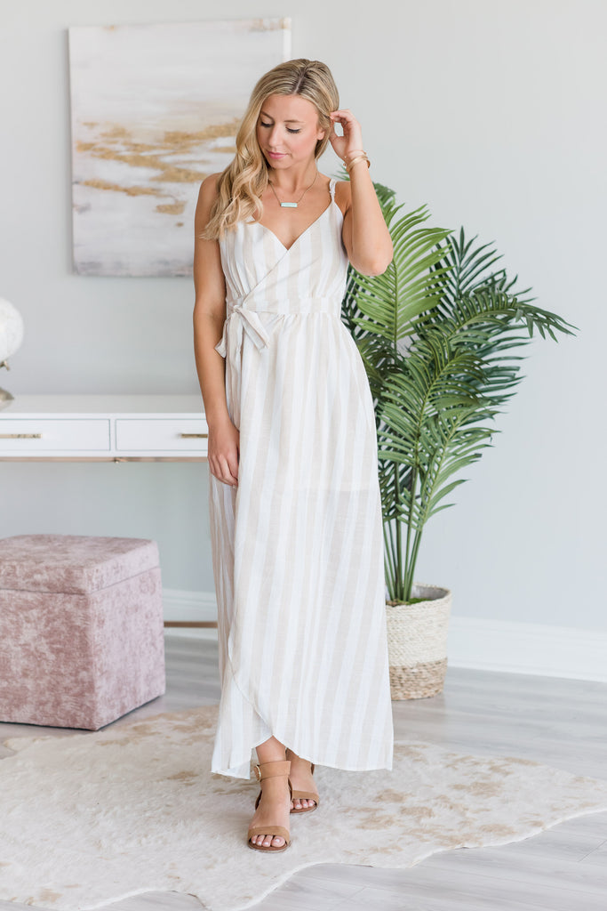 Not a Doubt In Your Mind Ivory White and Taupe Brown Striped Maxi Dress