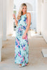 dress, maxi dress, floral, floral maxi dress, blue maxi dress with floral details, summer, summer maxi dress, fall, fall maxi dress, tie waist, tied waist dress, floral, bright florals, green maxi dress with floral details, floor length, conservative, blue, navy, pink, white, vacation