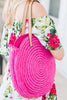 Outside the Box Fuchsia Pink Straw Purse
