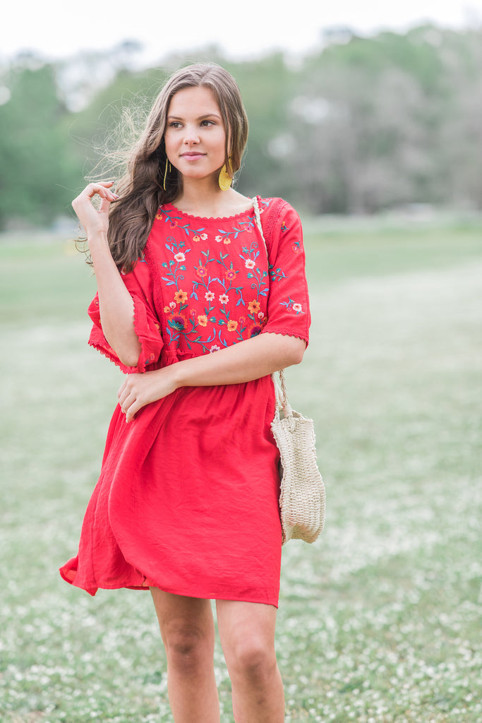 Quick Responses Dress, Red
