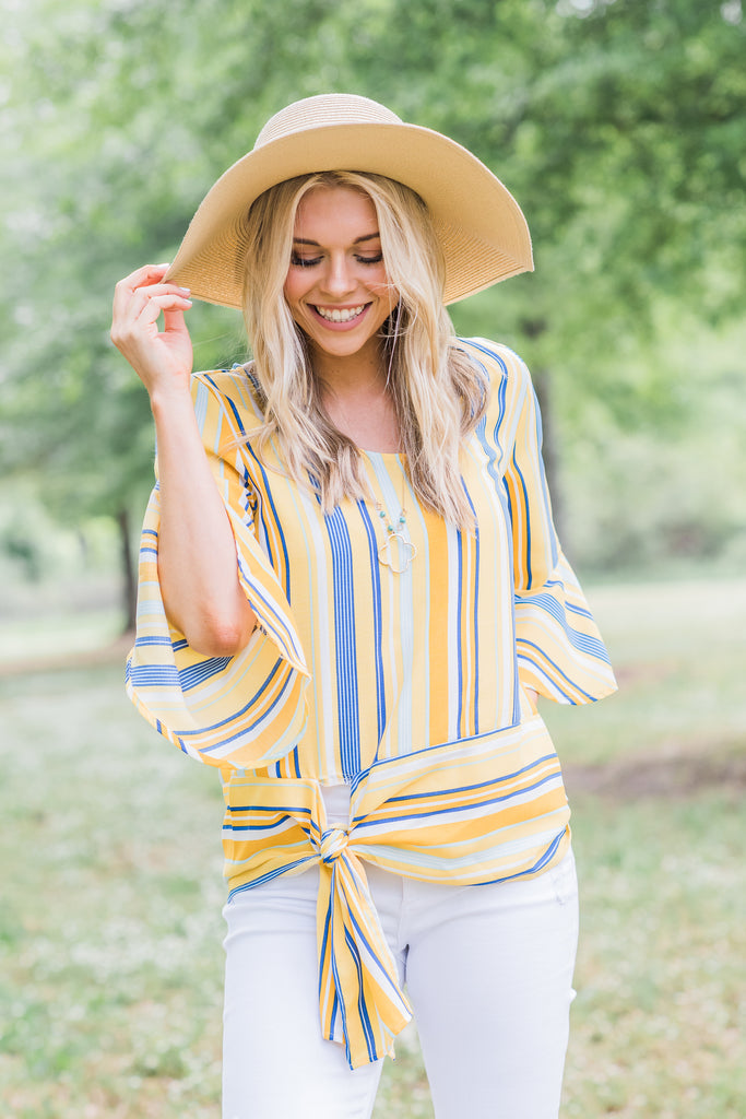 Returning To The Light Yellow Striped Top