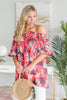 Salty Air Tomato Red Palm Print Top