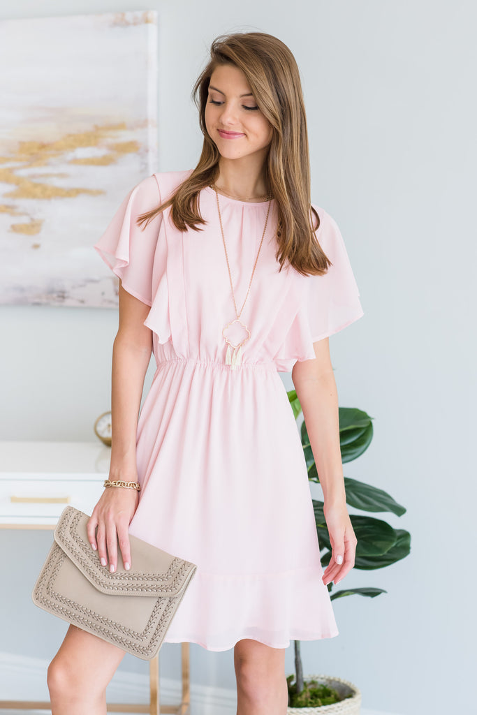 Sheer Elegance Dress, Blush