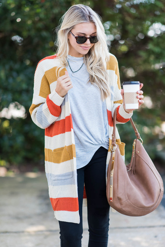Show You How Cardigan, Orange-Multi