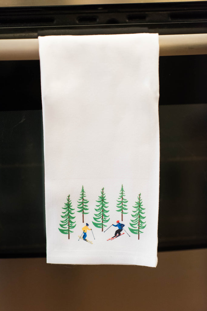 kitchen towel, white, christmas, tree, holidays, skiing