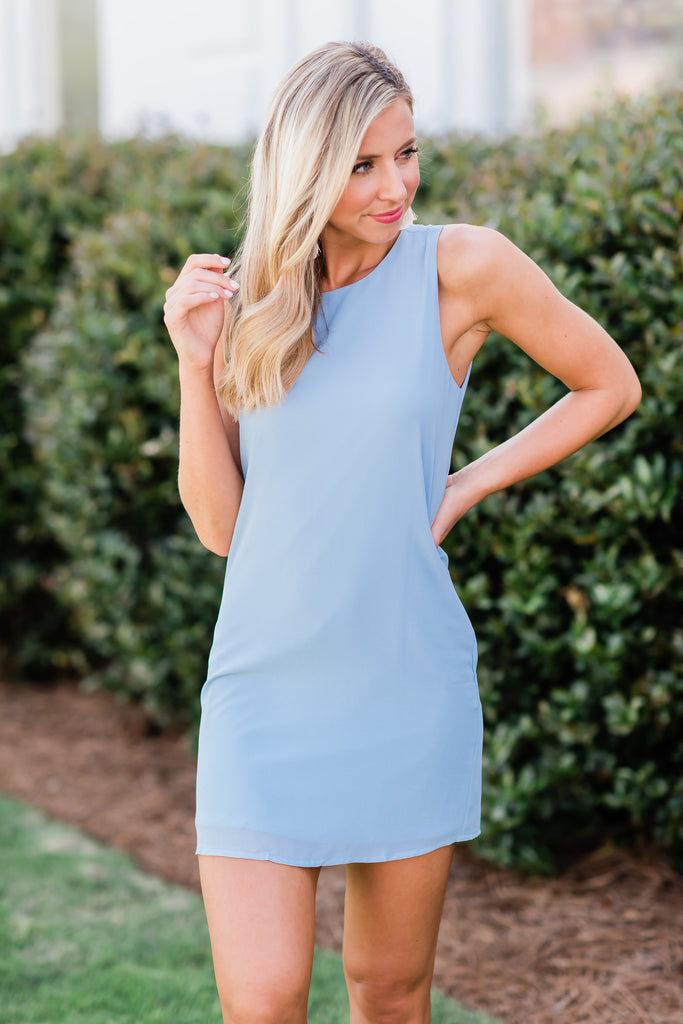 Spot On Shift Dress, Baby Blue