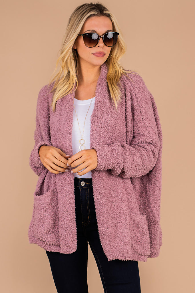 cardigan, fuzzy fabric, cozy cardigan, long sleeves, pockets, soft, pink, mauve