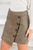 bottoms, skirt, button down skirt, green button down skirt, olive button down skirt, asymmetrical skirt, green button down asymmetrical skirt, summer bottoms, spring bottoms, fall bottoms, skirt with asymmetric hem, button down skirt with asymmetric hem,