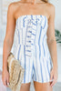 Summer Vacation Romper, White-Blue