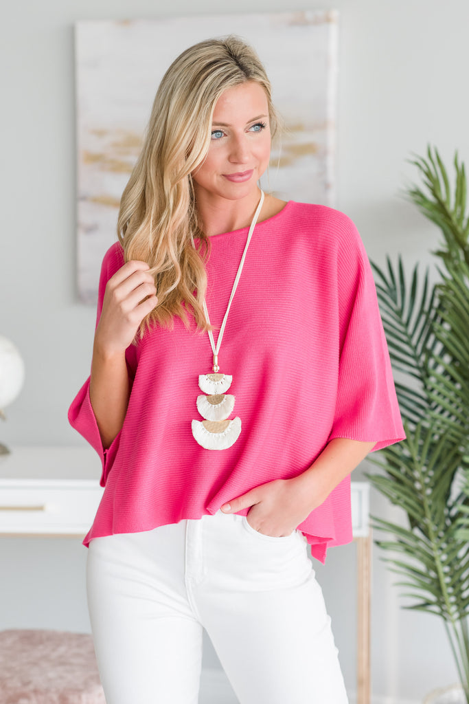 Talk About Love Sweater, Neon Pink