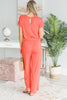 The Look Of Love Coral Elastic Waist Jumpsuit
