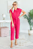 jumpsuit, solid, solid jumpsuit, buttons, jumpsuit with buttons, tied waist, tied waist jumpsuit, solid, solid jumpsuit, red, red jumpsuit, summer jumpsuit, trendy jumpsuit, short sleeve, fall jumspuit, bold, sassy