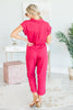 Thinking Of Us Jumpsuit, Berry Red