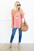 top, sweater, casual, cozy, fall, winter, long sleeve, chunky, fringe, solid, pink, salmon