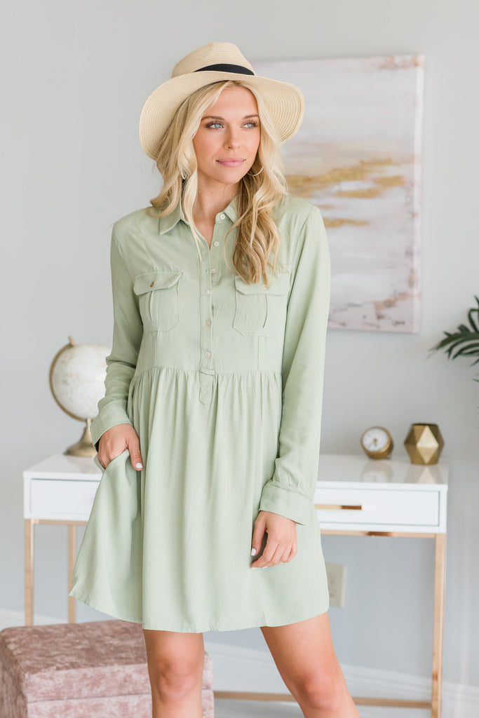 Travel The World Dress, Light Olive