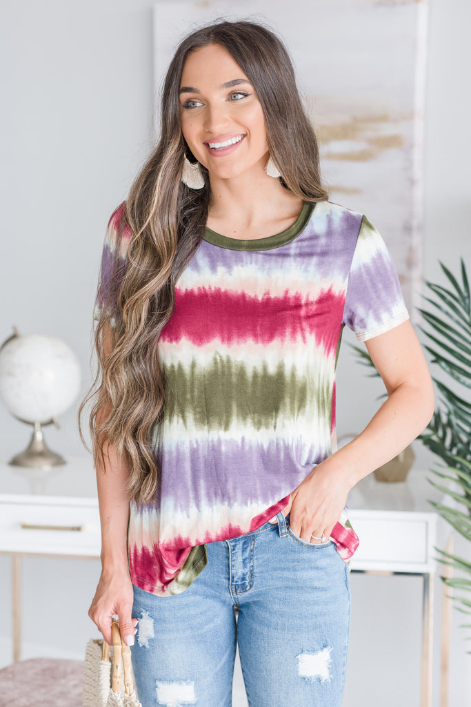 Treasure Hunts Top, Olive-Purple