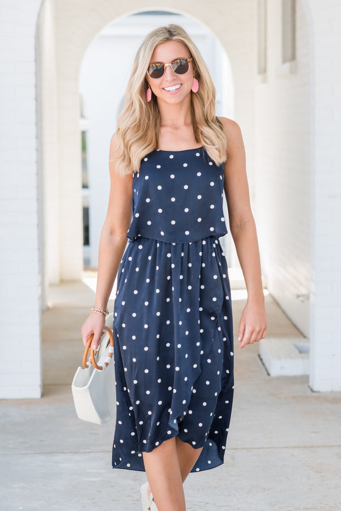 Turn To You Dress, Navy-White