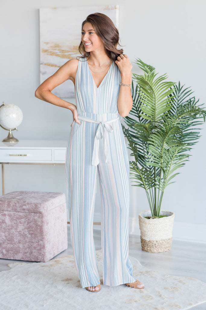 Walking In A Daydream Jumpsuit, Sage-Multi