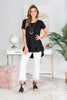 top, black, solid, solid top, solid black top, ruffle, ruffled top, black ruffled top, casual, casual top, short sleeve, short sleeved top, summer, summer top, easy to style, simple, everyday, work