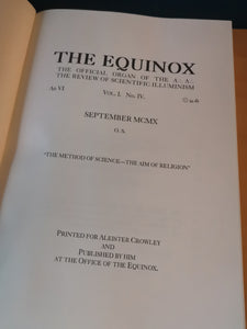 The Equinox, Volume I, Number IV.