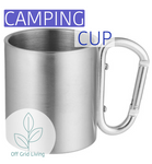 Stainless Steel Camping Cup with Carabiner - Off Grid Living for Beginners