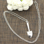 """i love gardening"" Hand Trowel Pendant with Silver Chain - Off Grid Living for Beginners"