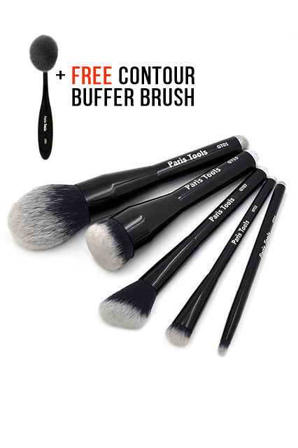 5PC Face and Eye Brush Set + FREE Contour Buffer