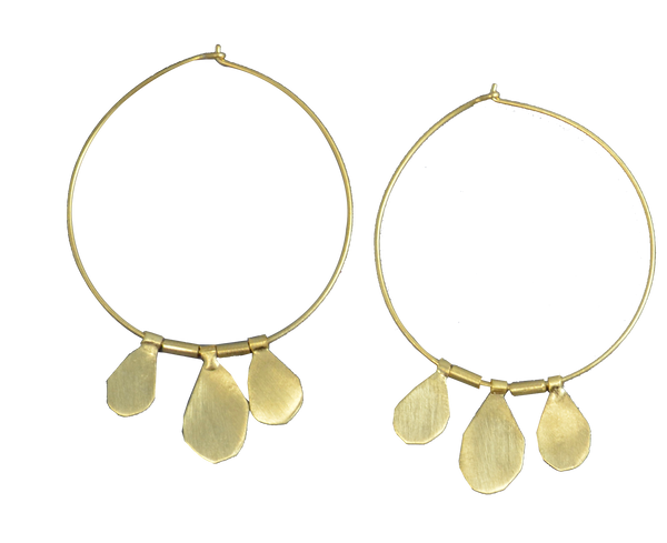 3 Drop Hoop 24ct Gold Plated