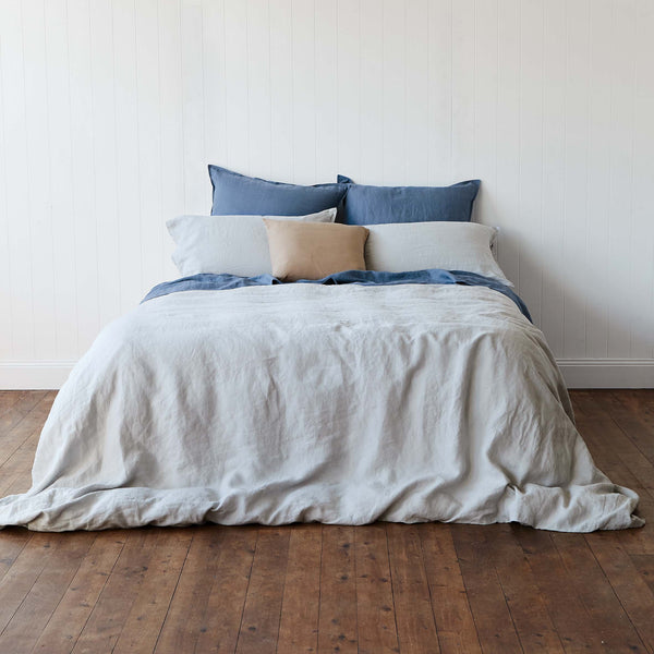 Manhattan Grey 100% French Linen Quilt Cover