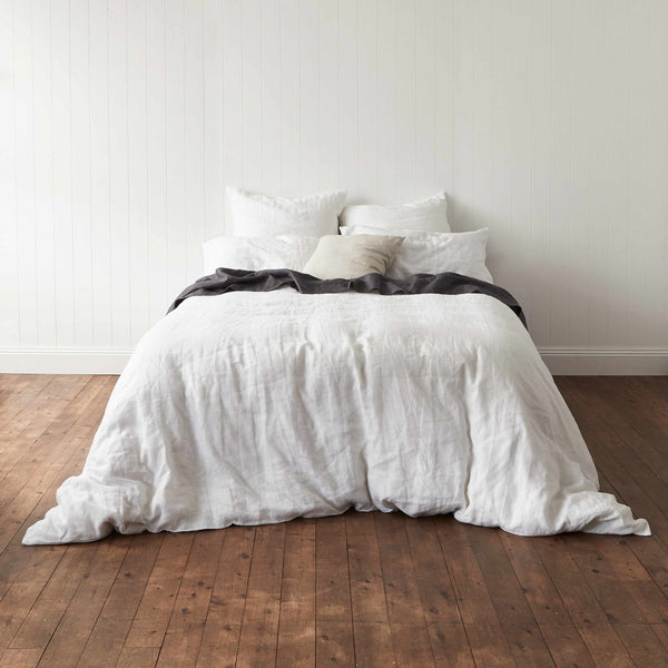 Milkcloud White 100% French Linen Quilt Cover