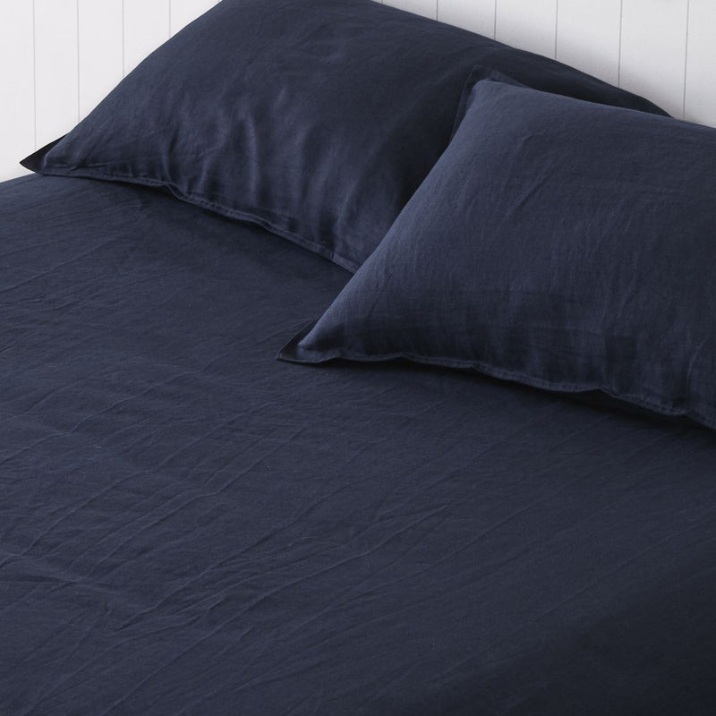 Classic Navy 100% French Linen Sheet Set