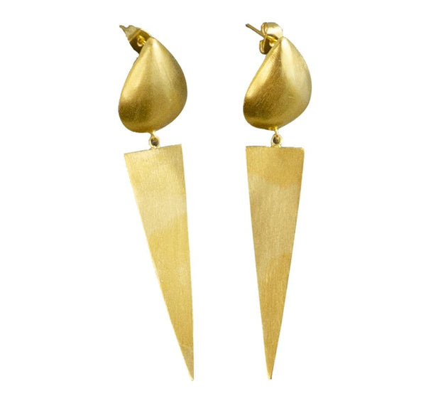 Triangle Drop Stud 24ct Gold Plated