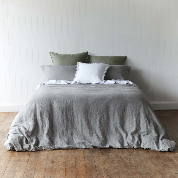 Storm Grey 100% French Linen Quilt Cover Set