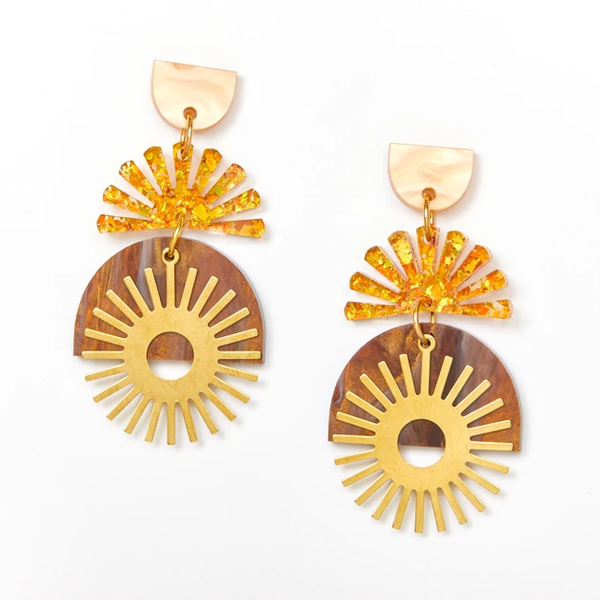 Sunset Earrings - Gold | Amber