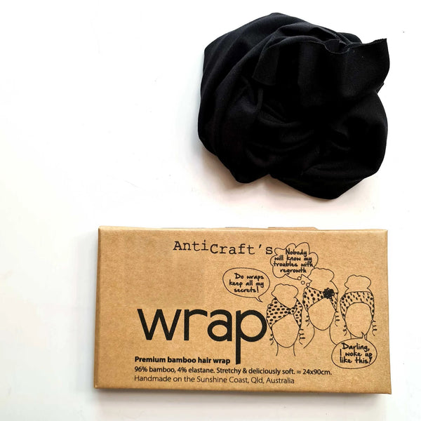 Black - Premium Bamboo Stretchy Head Wrap