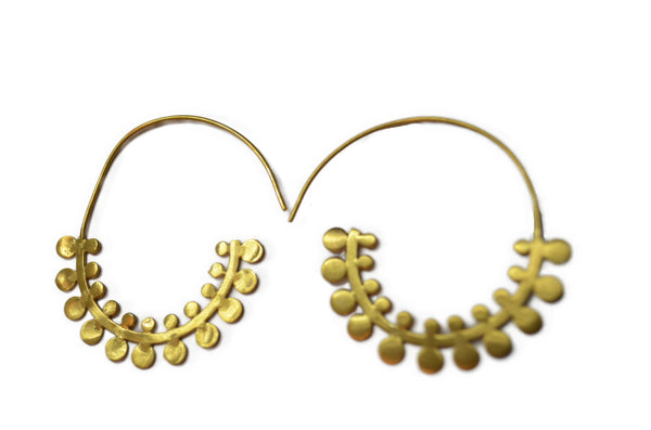 Fern Hoop 24ct Gold Plated