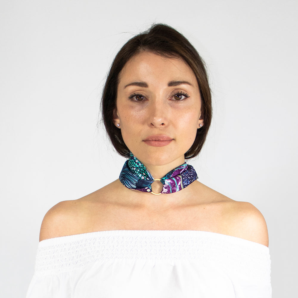 Twilly Twirly Wanderland Wonderland African Artist how to neck choker ring Blue African Aureum