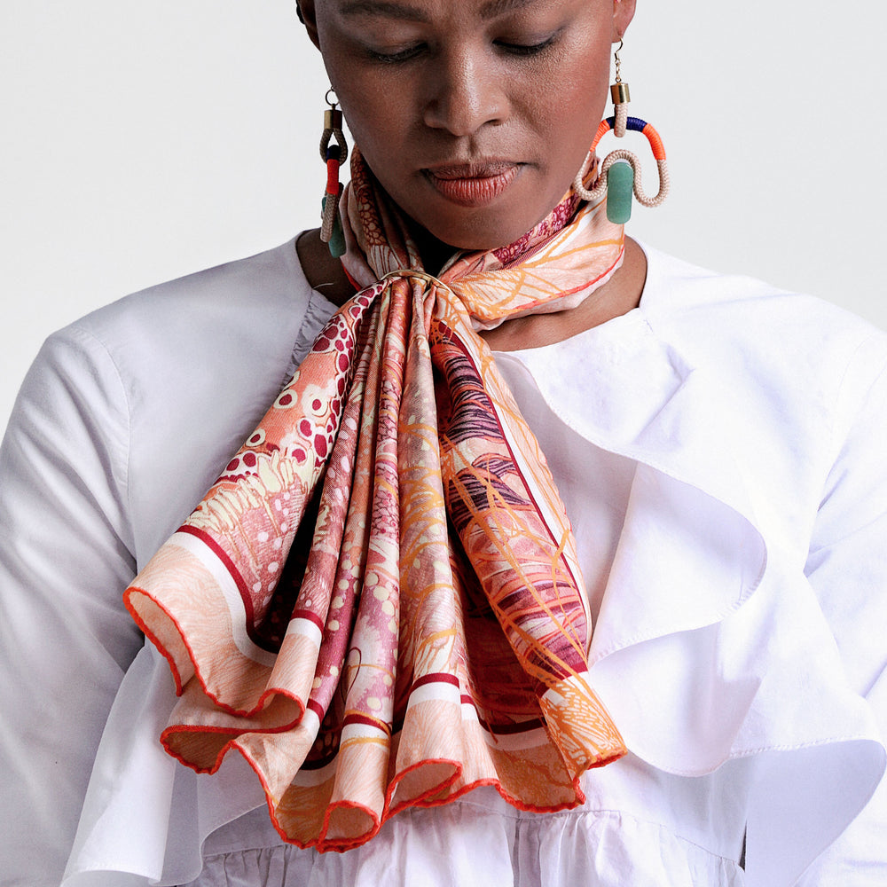 Silk Scarf How to style Gold Ring Wanderland Wonderland African luxury Artist Design Aureum Coral Pink