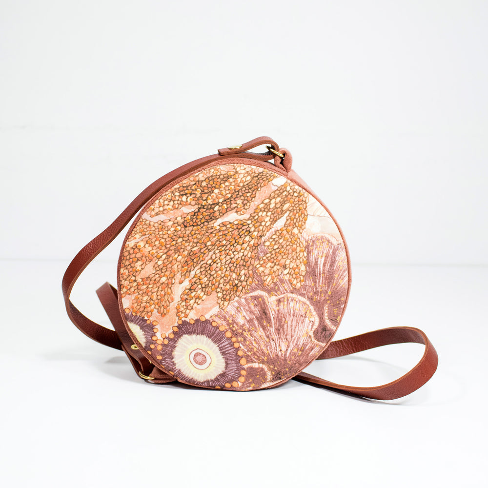 Oceanum Coral Embroidered Velvet Circle Bag