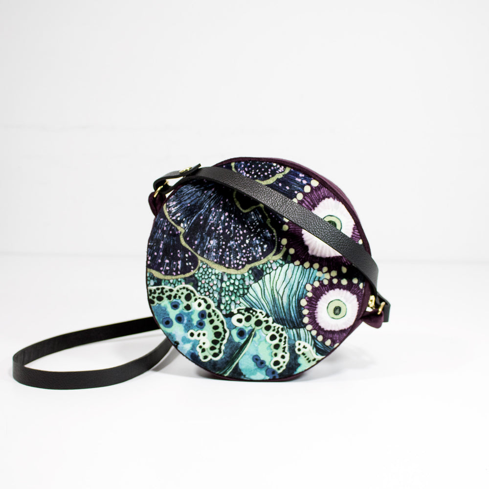 Oceanum Azure Embroidered Velvet Circle Bag