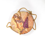 Oceanum Coral Aureum Circle Velvet Pouch Clutch Handbag Wonderland Wanderland Collective African Design Luxury Gold Chain