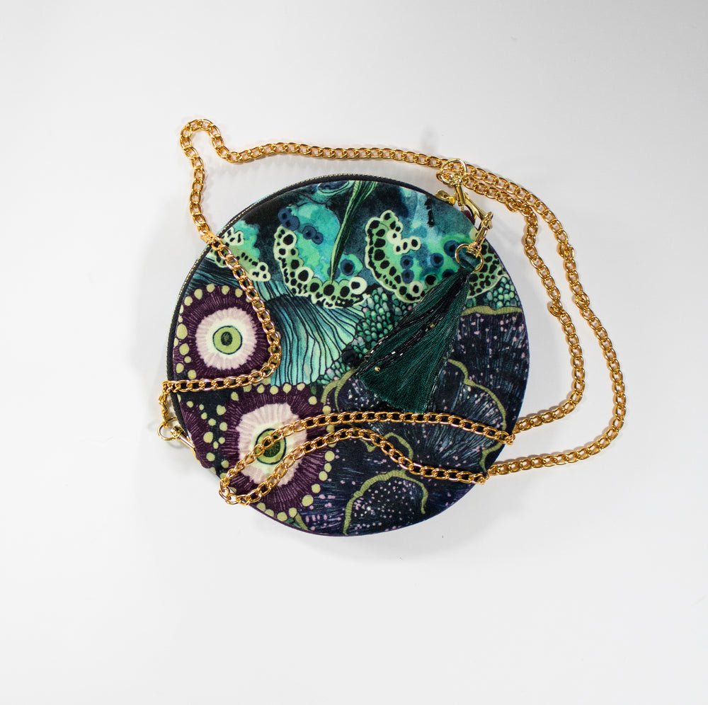 Oceanum Azure Aureum Circle Velvet Pouch Clutch Handbag Wonderland Wanderland Collective African Design Luxury Gold Chain