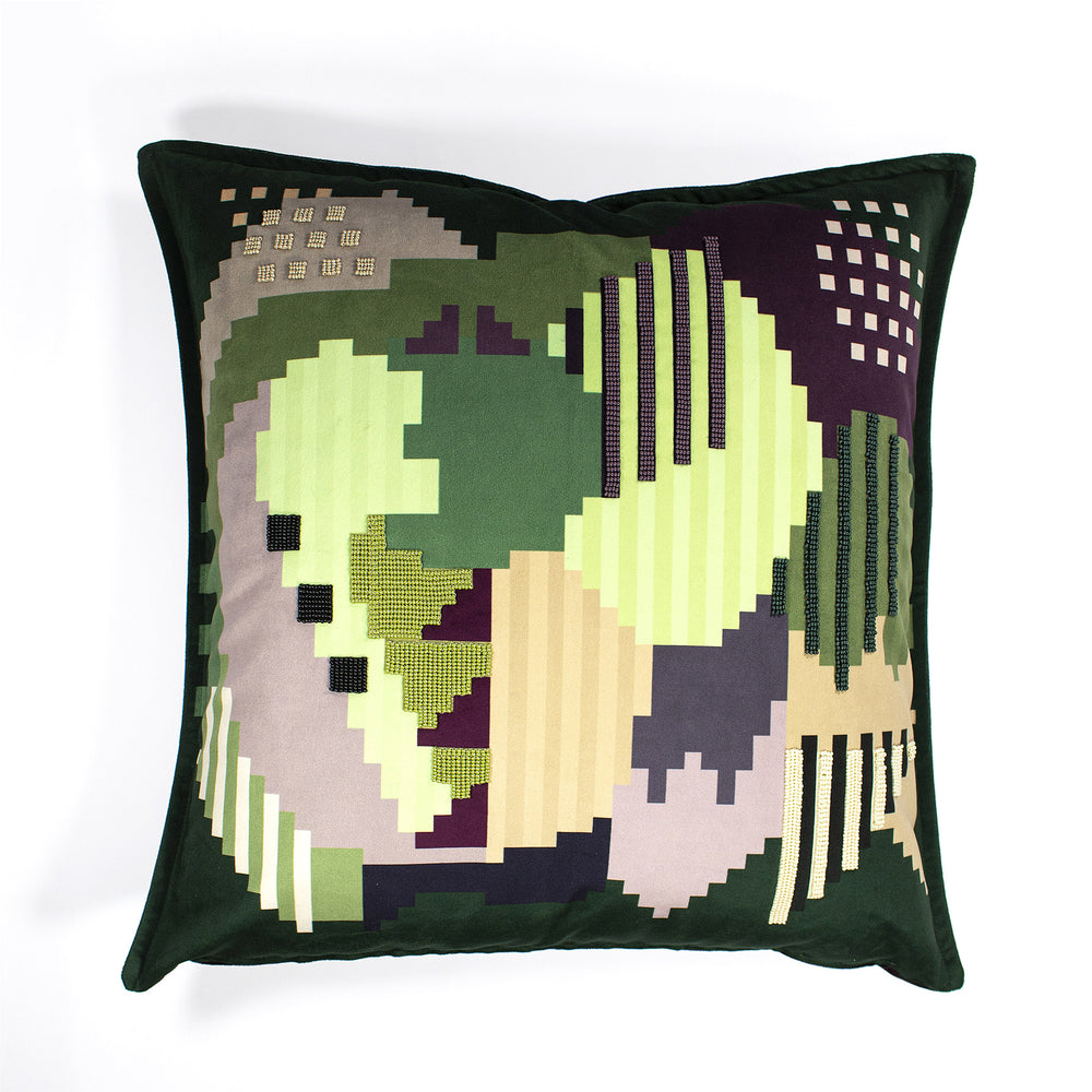 Mrs + Mr Luke BEADED Plum Forest Velvet Scatter Cushion