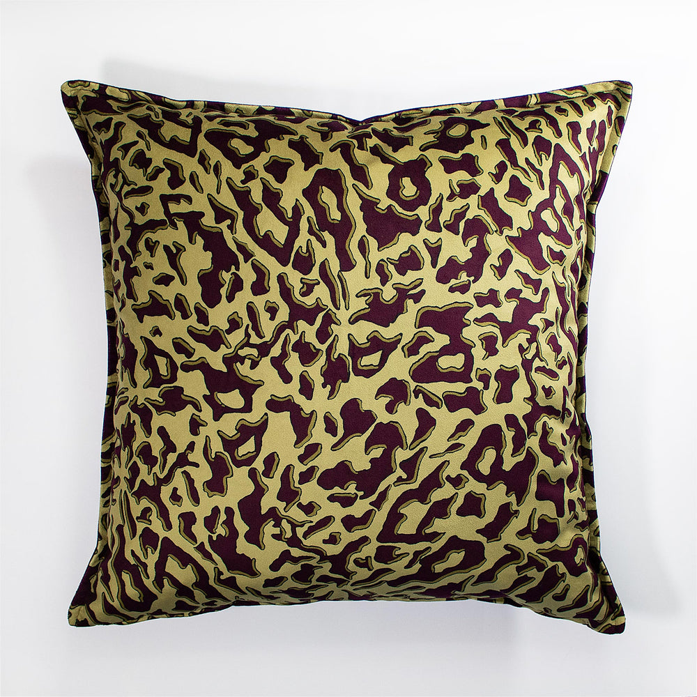 Zhi Zulu Leopard Gold Plum Velvet Scatter Cushion