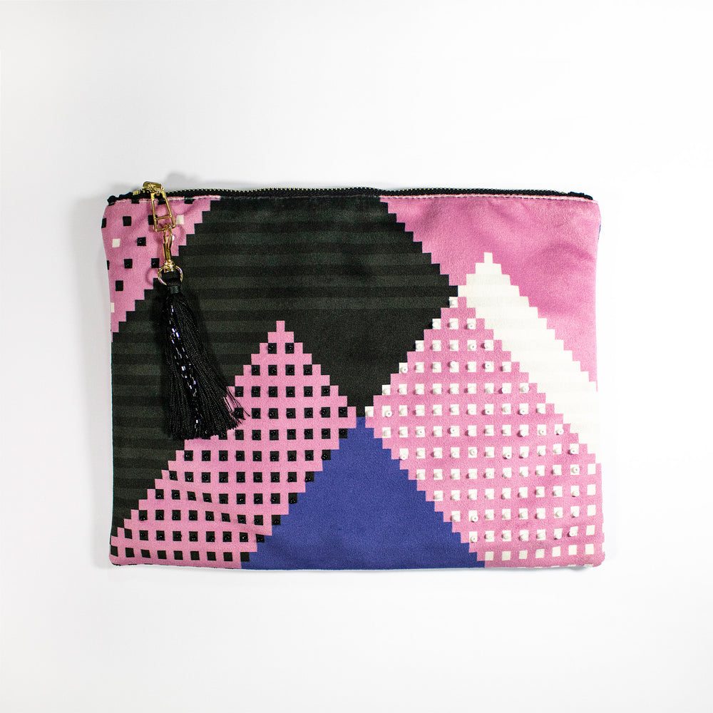 Faatimah Mohamed-Luke Stripe and Dots Clutch