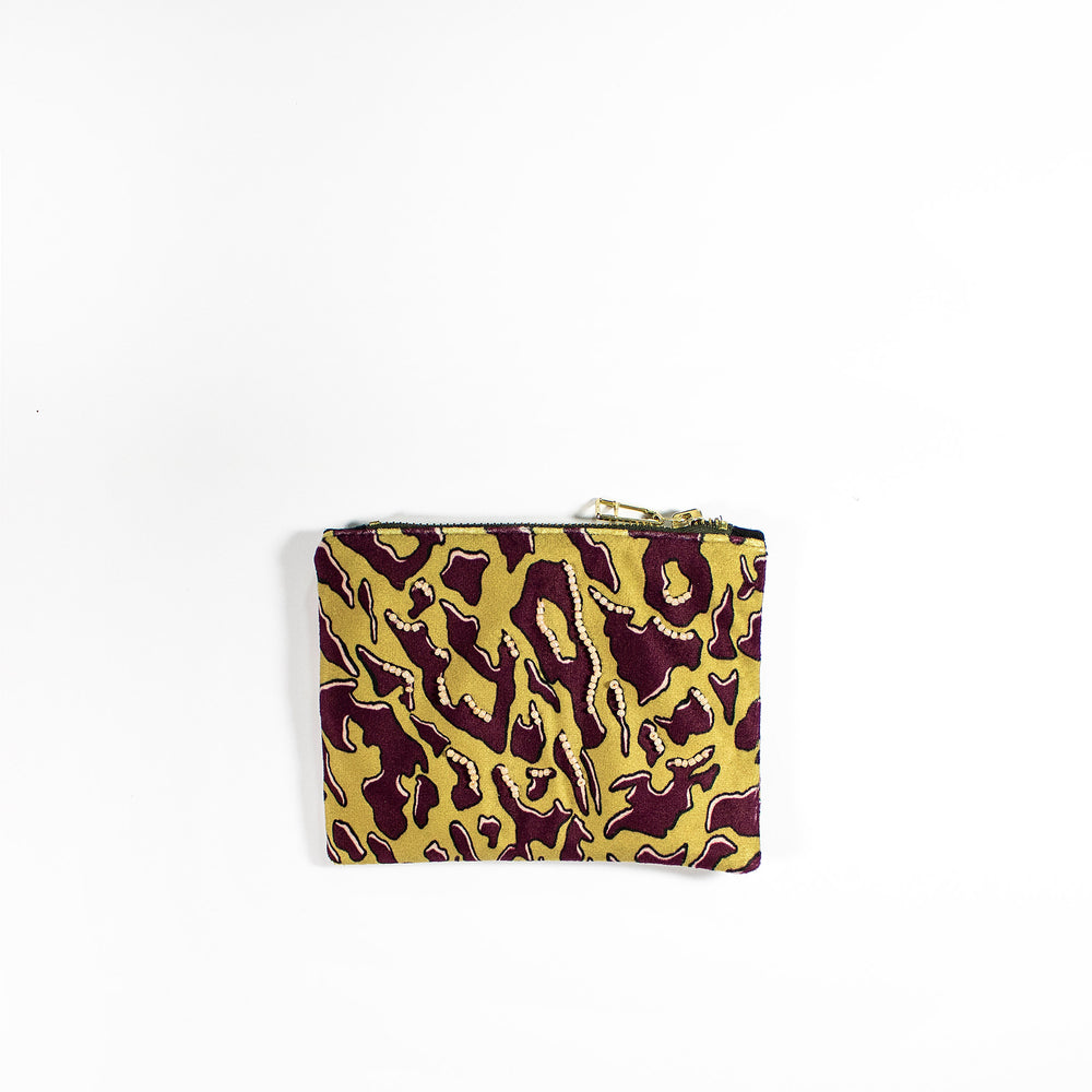 Zhi Zulu Leopard Gold/Plum Coin Purse