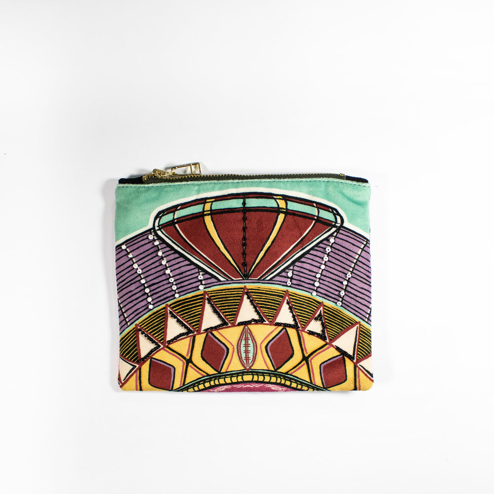 Cosmetic makeup small pouch velvet Wanderland Wonderland Africa design Crown Zhi Zulu