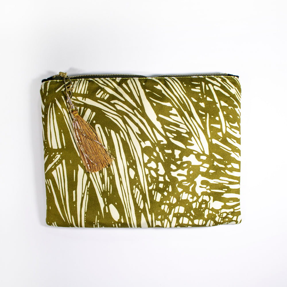 Aureum Velvet Pouch Clutch Handbag Wanderland Collective African Design Luxury Gold Chain