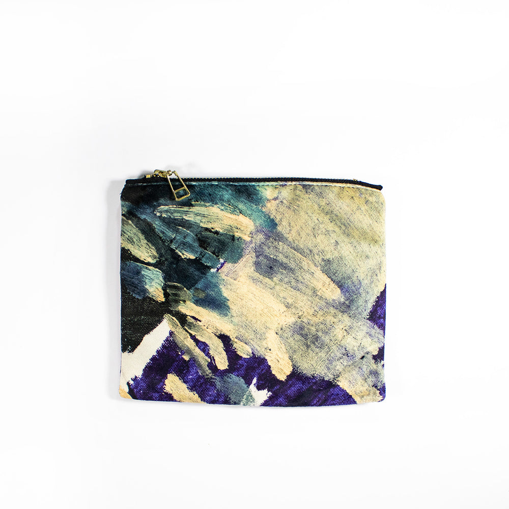 Cosmetic makeup small pouch velvet Wanderland Wonderland Africa design Blue Lucy Turpin